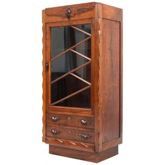 Walnut Art Deco Amsterdam School Vitrine or Display Cabinet, 1920s