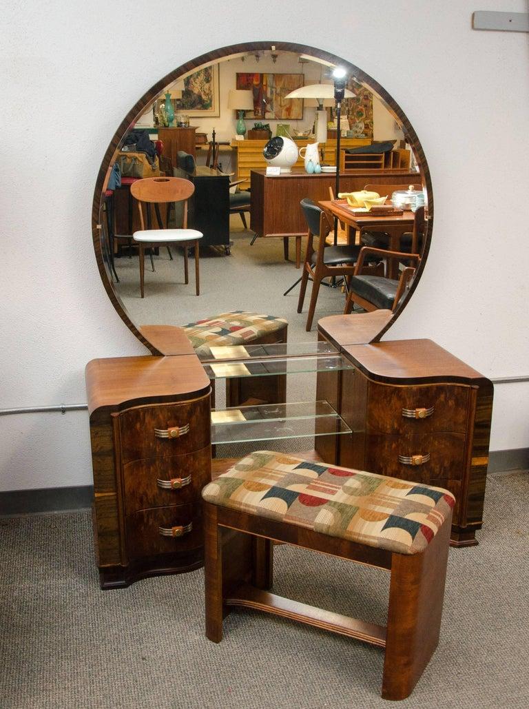 Walnut art deco dressing table vanity with mirror for for Vanity table and mirror for sale