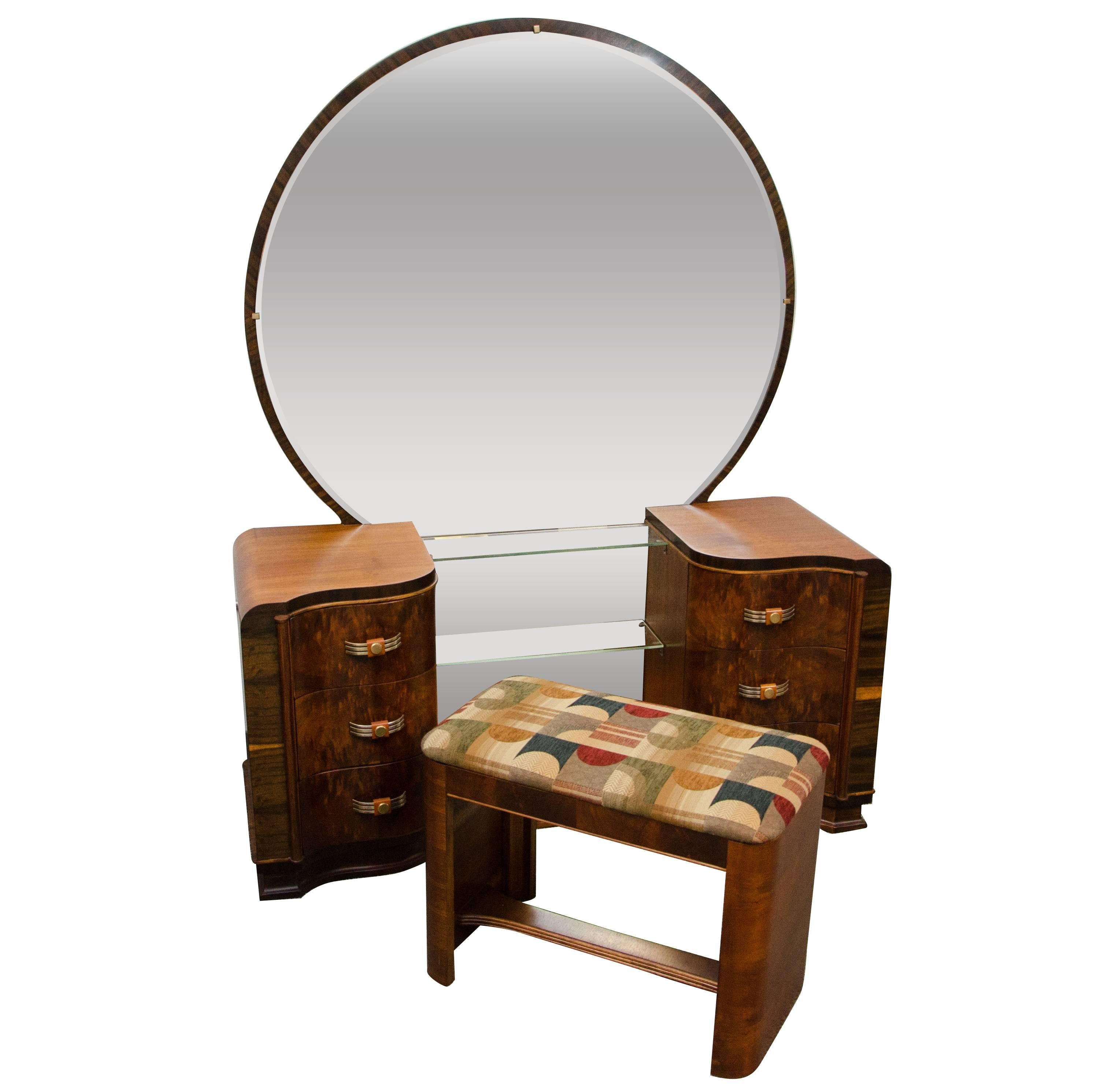 Walnut Art Deco Dressing Table / Vanity With Mirror For Sale