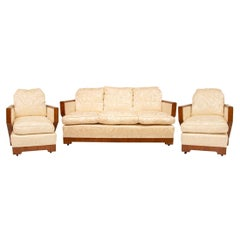 Walnut Art Deco Lounge Suite Upholstered in Eggshell Fabric, c.1930