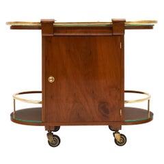 Walnut Art Deco Period Bar Cart