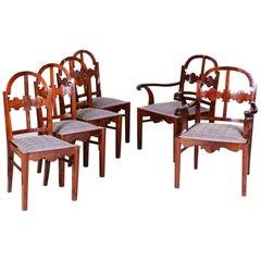 Walnut Art Deco Seating Set, 2 Armchairs and 4 Chairs, Shellac Polish, 1920s