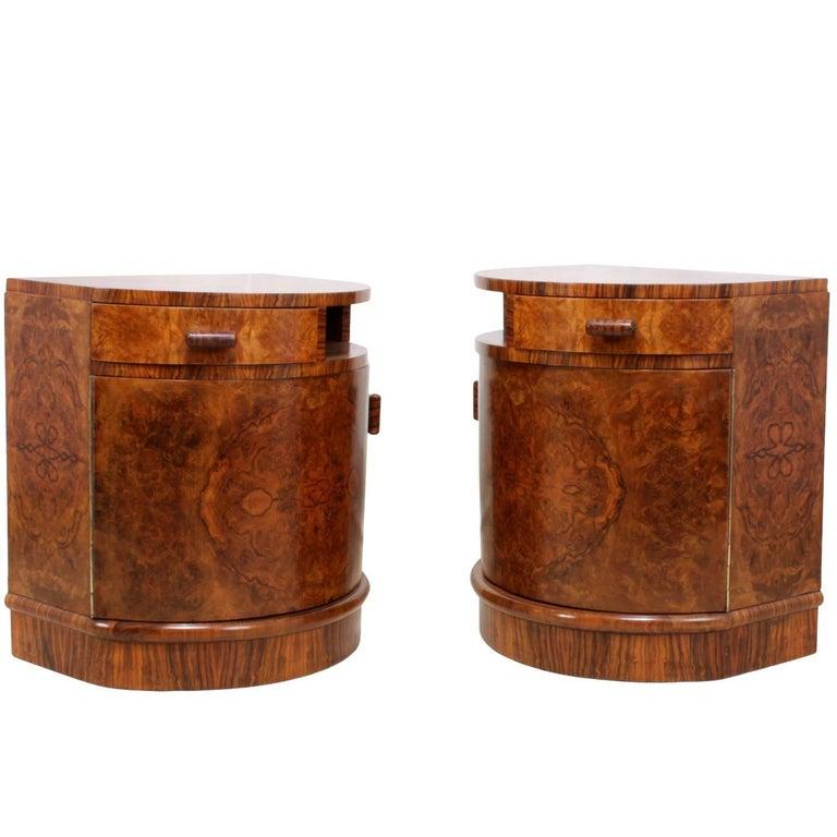 Walnut Art Deco Side Cabinets
