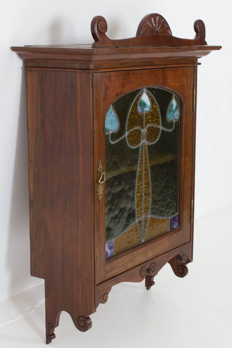 French Walnut Art Nouveau Wall Cabinet with Original Stained Glass, 1900s For Sale