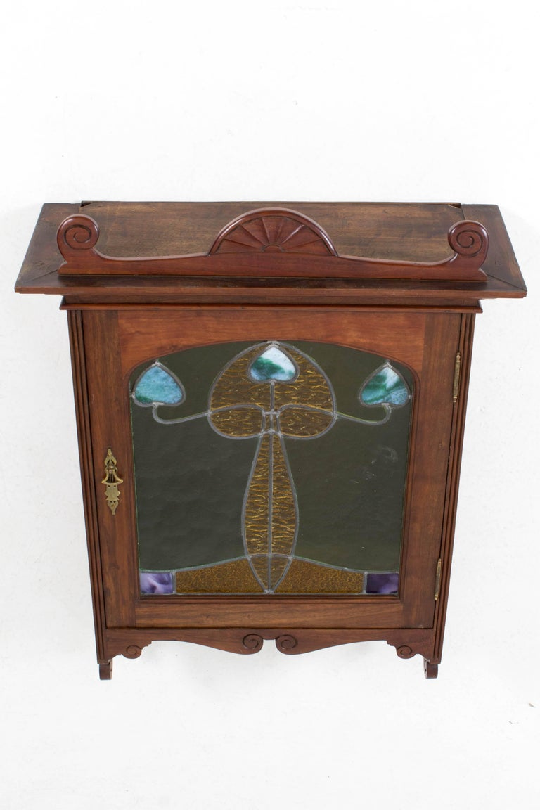 Early 20th Century Walnut Art Nouveau Wall Cabinet with Original Stained Glass, 1900s For Sale