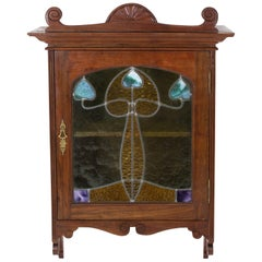 Walnut Art Nouveau Wall Cabinet with Original Stained Glass, 1900s
