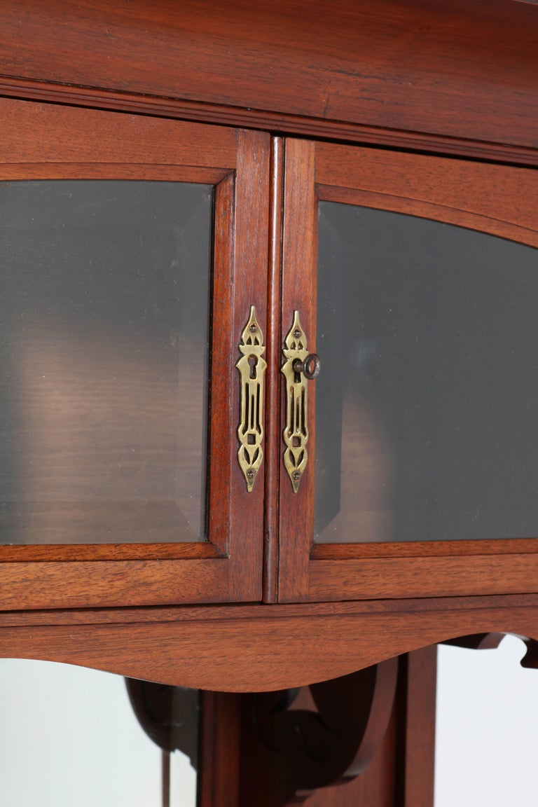 Dutch Walnut Arts & Crafts Art Nouveau Cabinet by Royal H.P. Mutters & Zoon, 1900s For Sale