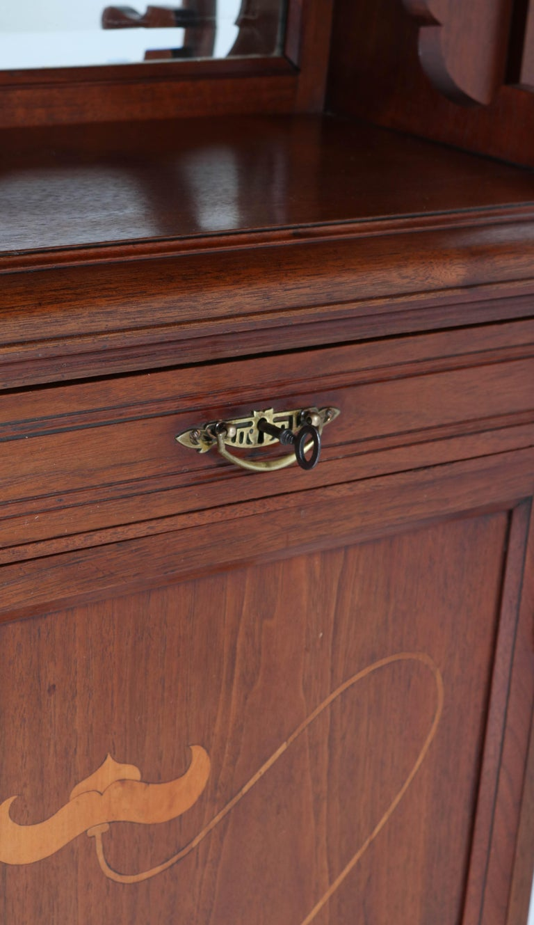 Beveled Walnut Arts & Crafts Art Nouveau Cabinet by Royal H.P. Mutters & Zoon, 1900s For Sale