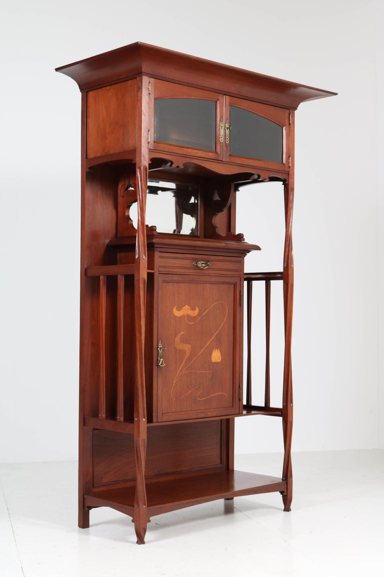 Walnut Arts & Crafts Art Nouveau Cabinet by Royal H.P. Mutters & Zoon, 1900s For Sale 1