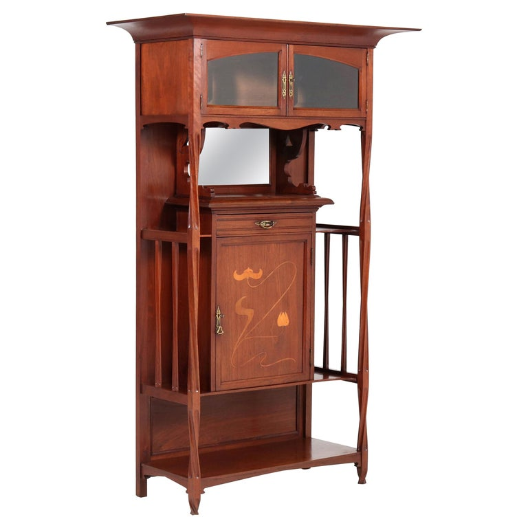 Walnut Arts & Crafts Art Nouveau Cabinet by Royal H.P. Mutters & Zoon, 1900s For Sale