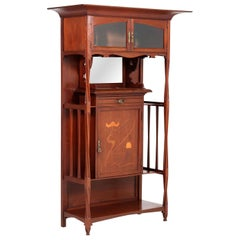 Walnut Arts & Crafts Art Nouveau Cabinet by Royal H.P. Mutters & Zoon, 1900s