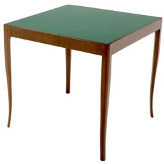 Walnut Base Green Laminate Top Square Game Table