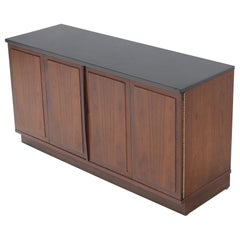 Walnut Base Petit Credenza with Slate Top TV Stand Cabinet Console Table
