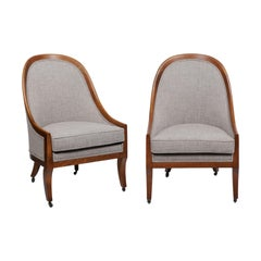 Walnut Bergère Chairs by Baker Furniture, 2 Available