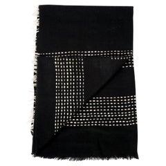Walnut Black Handloom King Size Bedspread in Handspun Yak, White Stripes Pattern