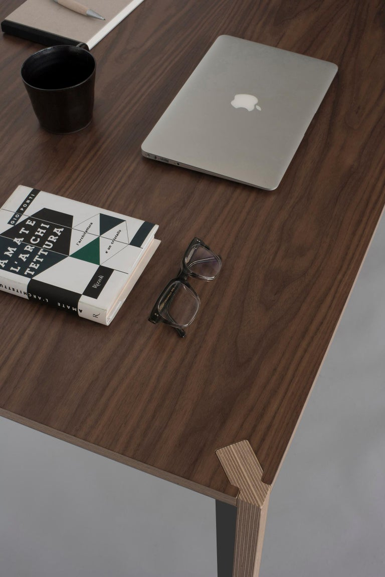Minimalist Walnut Black MiMi Table by Miduny, Made in Italy For Sale