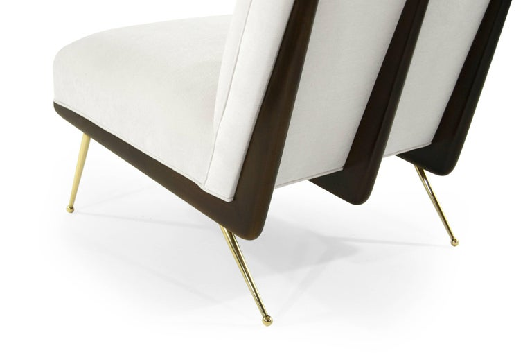 Walnut Boomerang Lounge Chairs on Brass Legs For Sale 4