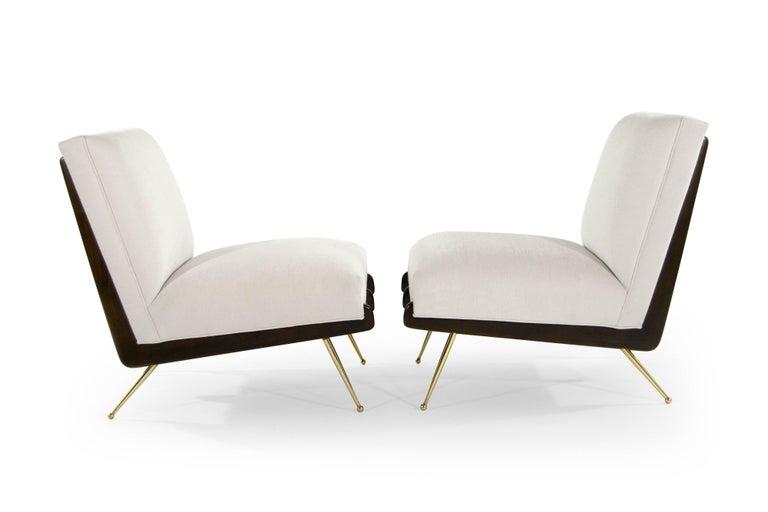 Mid-Century Modern Walnut Boomerang Lounge Chairs on Brass Legs For Sale