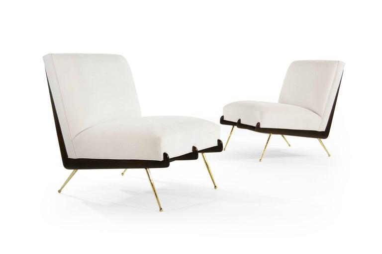American Walnut Boomerang Lounge Chairs on Brass Legs For Sale