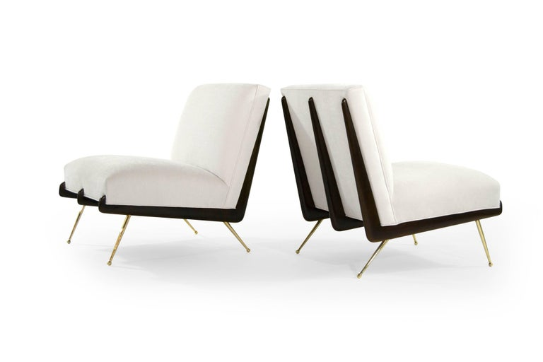 Walnut Boomerang Lounge Chairs on Brass Legs In Excellent Condition For Sale In Stamford, CT