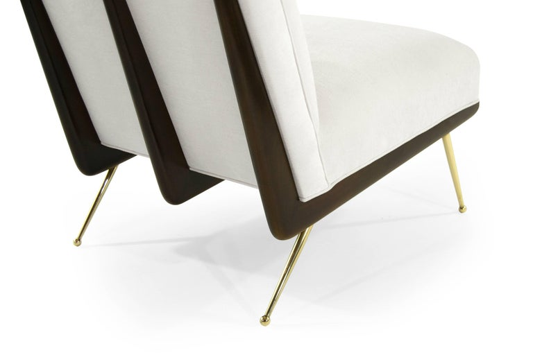 Walnut Boomerang Lounge Chairs on Brass Legs For Sale 1