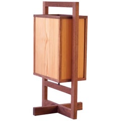 Walnut Box Lamp, Small Grid Style Table Lamp