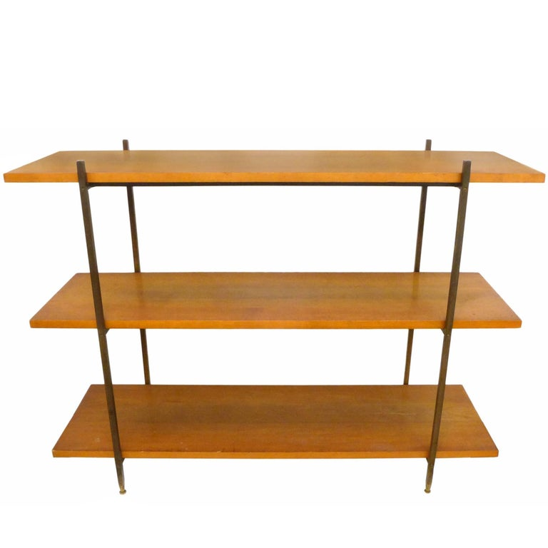 Walnut, Brass and Iron Shelving Unit by Milo Baughman For Sale