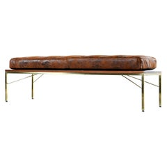 Walnut Brass and Leather Mid-Century Modern Coffee Table Bench Combo