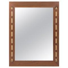 Walnut Brass and Leather Strap Mirror