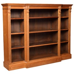 Walnut Breakfront Open Bookcase
