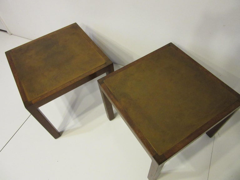 Mid-Century Modern Walnut / Etched Brass Danish Styled Side Tables by Harry Lunstead For Sale