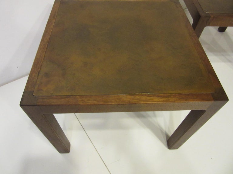 American Walnut / Etched Brass Danish Styled Side Tables by Harry Lunstead For Sale