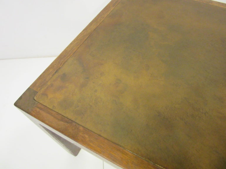 Walnut / Etched Brass Danish Styled Side Tables by Harry Lunstead In Good Condition For Sale In Cincinnati, OH
