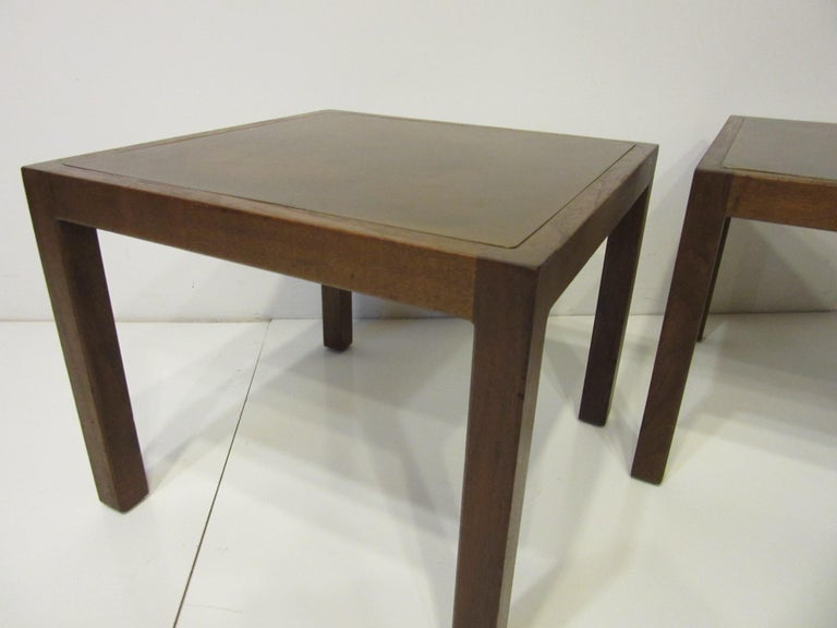 20th Century Walnut / Etched Brass Danish Styled Side Tables by Harry Lunstead For Sale
