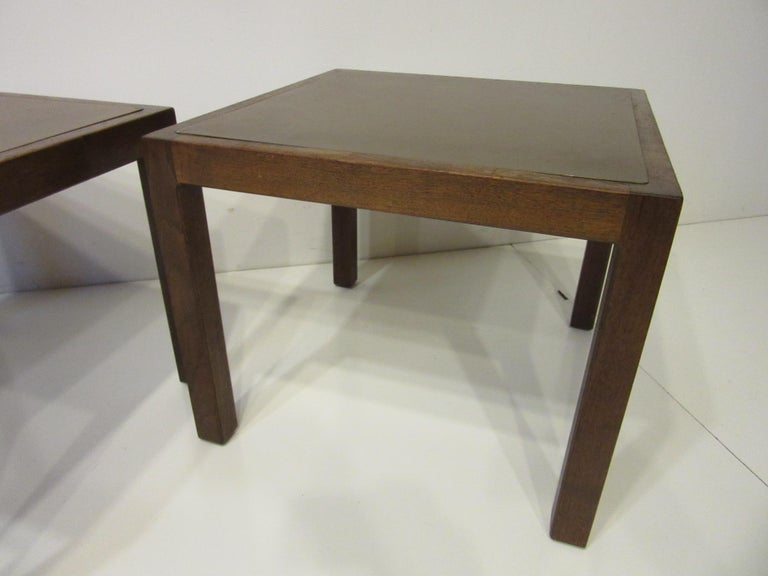 Walnut / Etched Brass Danish Styled Side Tables by Harry Lunstead For Sale 1