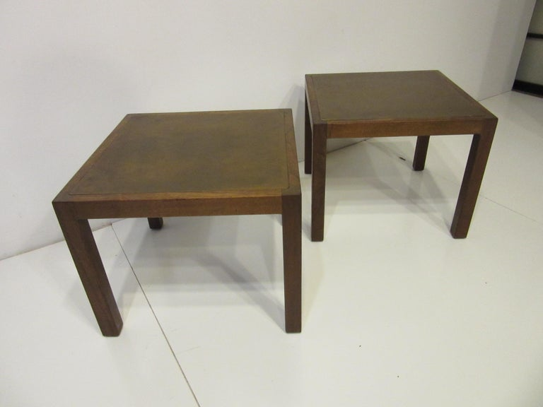Walnut / Etched Brass Danish Styled Side Tables by Harry Lunstead For Sale 2