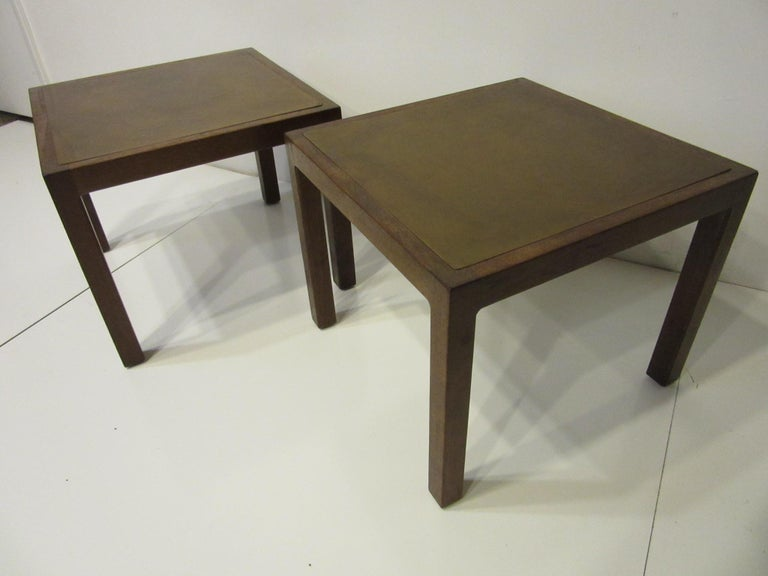Walnut / Etched Brass Danish Styled Side Tables by Harry Lunstead For Sale 3