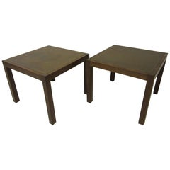 Walnut / Etched Brass Danish Styled Side Tables by Harry Lunstead