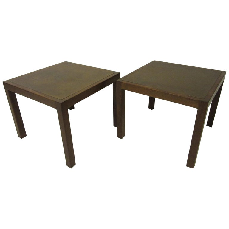 Walnut / Etched Brass Danish Styled Side Tables by Harry Lunstead For Sale