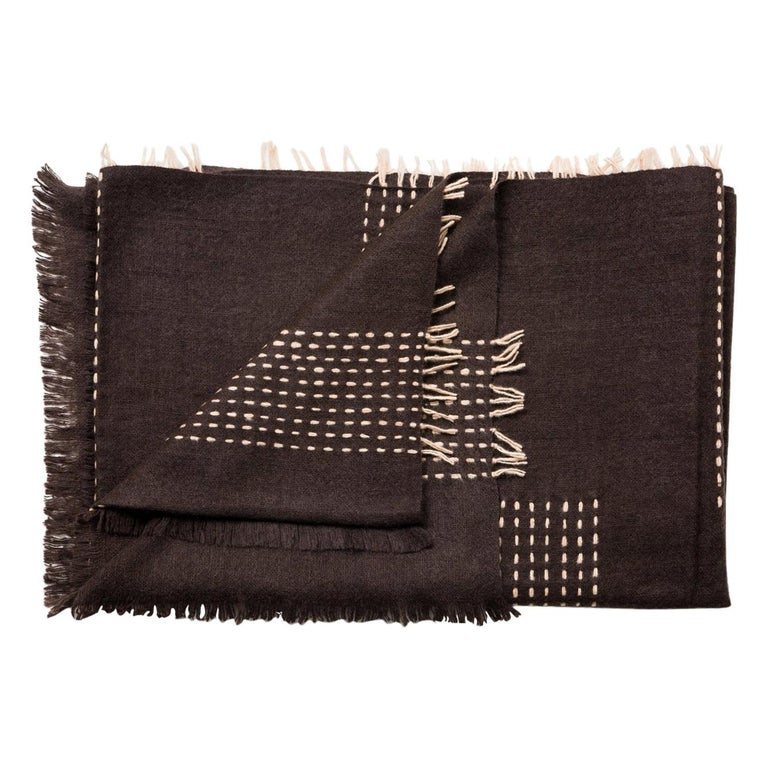 WALNUT Brown Yak Throw / Blanket Handwoven and Hand Embroidered For Sale