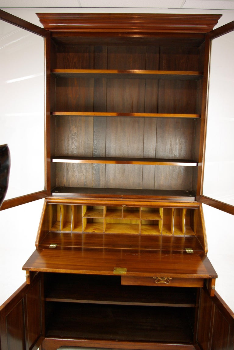 Walnut bureau bookcase, slant front desk, Arts & Crafts, Scotland 1910, Antique Furniture, B1174