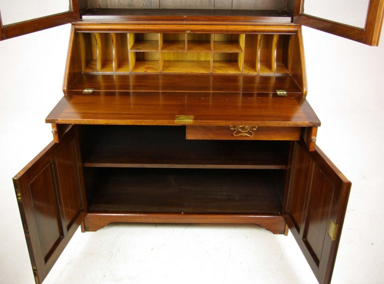 Scottish Walnut Bureau Bookcase, Slant Front Desk, Secretary Desk, Scotland, 1910 For Sale