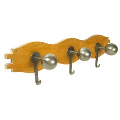 """Walnut and Burnished Brass Wall Coat Rack """"Attaccapanni"""" by Mazza for Artemide"""