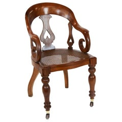 Walnut Cane Seat Desk Chair