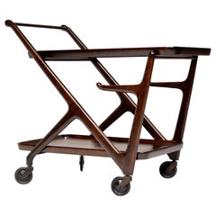 Walnut Cesare Lacca Tea Trolley Cart