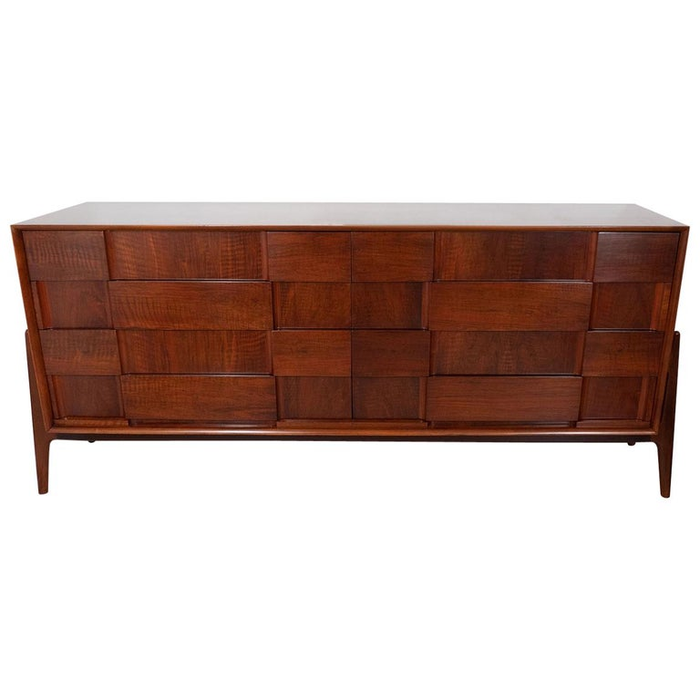 Walnut Checkered Double Dresser For Sale