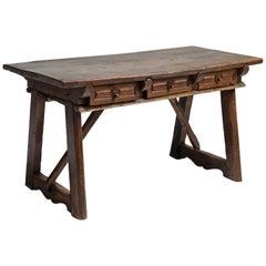 Walnut & Chestnut 3-Drawer Table Spain, circa 1700
