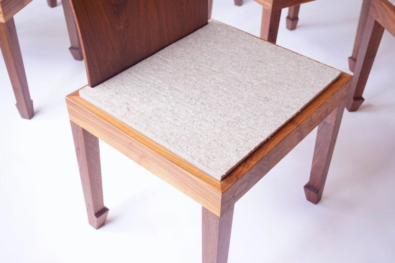 American Solid Back Walnut Chinese Dining Chair with Felt Cushion  For Sale