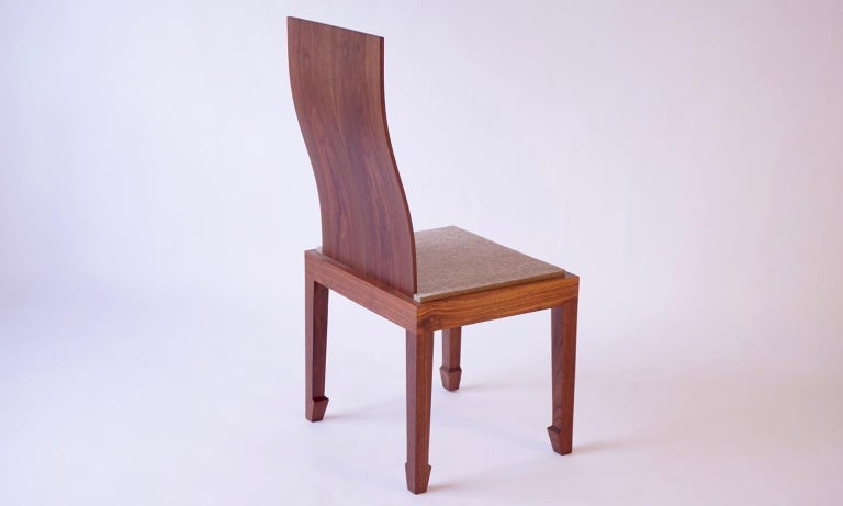 Solid Back Walnut Chinese Dining Chair with Felt Cushion  In Excellent Condition For Sale In Bangall, NY