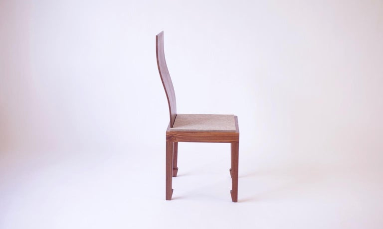 Contemporary Solid Back Walnut Chinese Dining Chair with Felt Cushion  For Sale